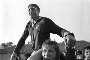 Captain Willie John Mcbride is chaired off the pitch after the British Lions win