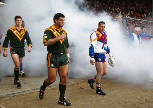 The two captains leads the teams out for the 1992 Rugby League Wolrd Cup Final