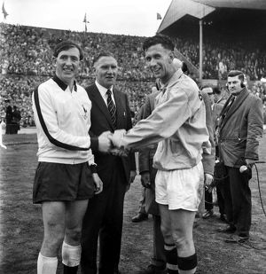 The two captains shake hands at the 1962 FA Cup Final