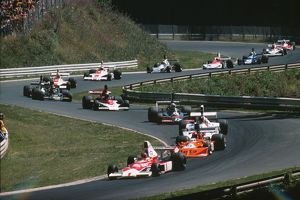 The cars wind their way through the Nurburgring - 1975 German Grand Prix