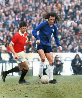 Chelsea's Mike Brolly and Manchester United's Willie Morgan