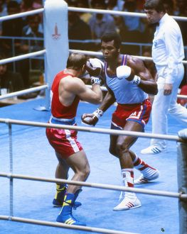 Cuba's Teofilo Stevenson on the way to winning gold at the 1980 Olympics