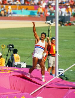 Daley Thompson at the 1984 Los Angeles Olympics