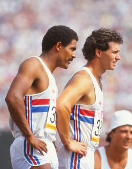 Daley Thompson and Brad McStravick during the 1984 Los Angeles Olympics