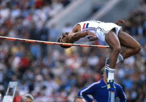 Daley Thompson in the high jump at the 1980 Moscow Olympics