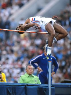 Daley Thompson in the high jump at the 1980 Olympics