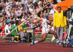 Daley Thompson throws the javelin at the 1980 Moscow Olympics