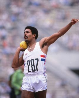 Daley Thompson on the way to winning gold at the 1980 Moscow Olympics