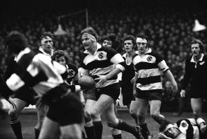 Derek Quinnell on the ball for the Barbarians against the All Blacks in 1973