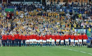 The England team line up before kick-off of the 2003 World Cup Final