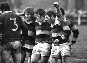 The famous Pontypool front row prepare to scrum down in 1975