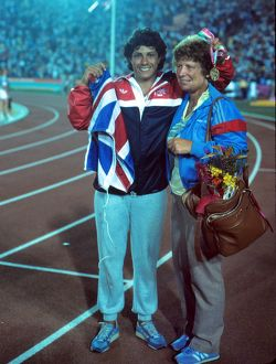 Fatima Whitbread celebrates her bronze medal with her mother - 1984 Los Angeles Olympics