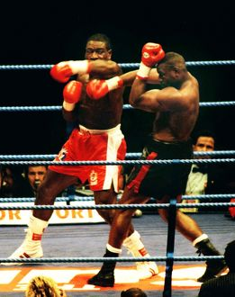 Frank Bruno on the way to victory and the WBC title against Oliver McCall