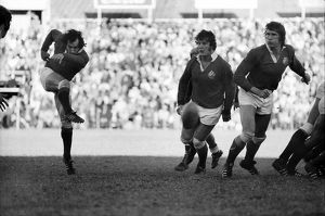 Gareth Edwards kicks ahead for the Lions in 1974