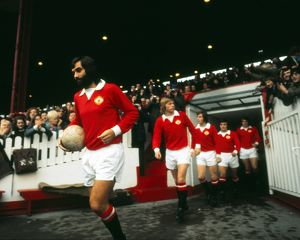George Best leads out Manchester United in 1973