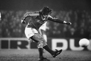 George Best plays the ball while appearing for Ipswich Town in 1979