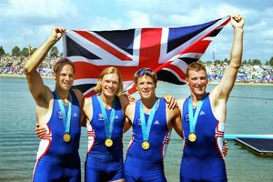 The gold medal-winning GB Coxless Four team at the 2000 Olympics