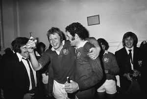 Gordon Brown and Mervyn Davies celebrate after the British Lions win the 1974 series