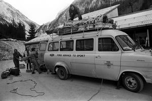 The Great Britain ladies' ski team team bus is unloaded in November 1970