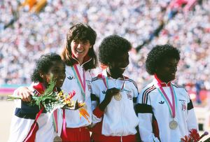 Great Britain's bronze medal-winning 4x100m relay team - 1984 Los Angeles Olympics