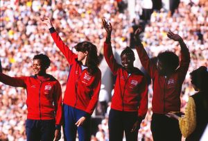 Great Britain's bronze medal-winning 4x100m team on the podium at the 1980 Moscow