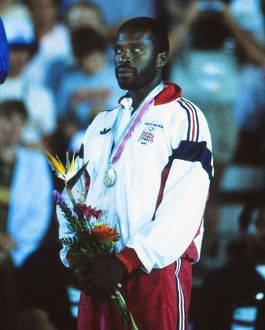 Great Britain's bronze medalist Keith Connor at the 1984 Los Angeles Olympics