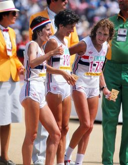 Great Britain's Sarah Rowell, Priscilla Welch, and Joyce Smith prepare to start the marathon - 1984 Los Angeles Olympics
