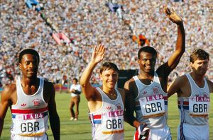 Great Britain's silver medal-winning 4x400m relay team at the 1984 Olympics