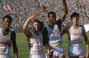 Great Britain's silver medal-winning Men's 4x400m Relay team at the 1984