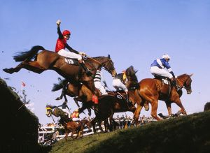 Horses clearing Bechers Brook, Grand National 1983