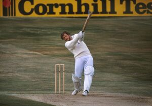 Ian Botham hits a boundary on the way to his famous 149 not out at Headingly in the