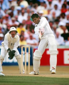 India's Mohammad Azharuddin on the way to scoring 179 against England in the 2nd Test at Old Trafford in 1990