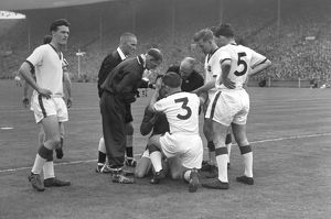 Injured Manchester United goalkeeper Ray Wood during the 1957 FA Cup Final