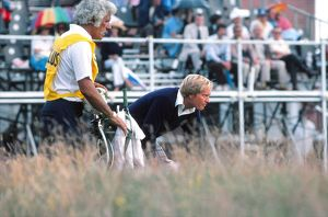 Jack Nicklaus and his caddy at the 1977 Open