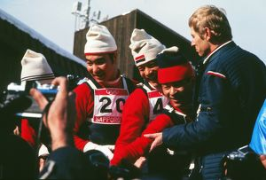 The three Japanese jumpers who had a clean-sweep of the medals celebrate - 1972 Sapporo
