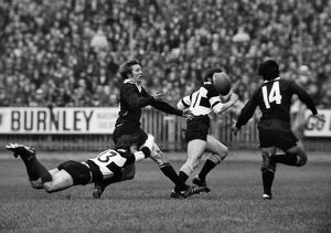 John Dawes puts in a flying tackle on Bruce Robertson during the famous 1973 Barbarians-All