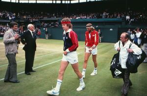 John McEnroe and Bjorn Borg walk out on Centre Court for the 1981 Wimbledon Men's