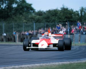 John Watson waves to the crowd after Silverstone victory 1981