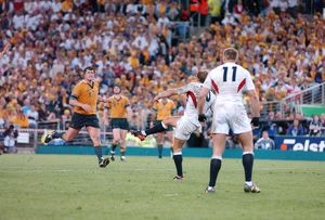Jonny Wilkinson strikes the World Cup-winning drop goal