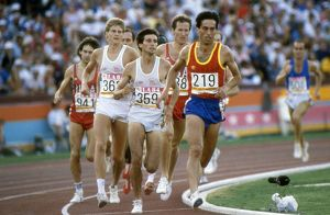 Jose Manuel Abascal leads from Seb Coe and Steve Cram in the final of the 1500m at