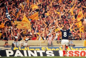 Kenny Dalglish celebrates his goal in front of the Scotland fans at Wembley - 1977