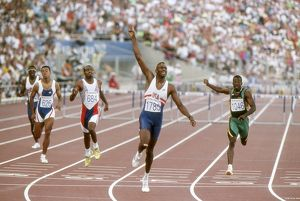Kevin Young of the USA wins gold in the 400m hurdles at the 1992 Barcelona Olympics