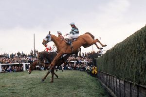 L'Escargot jumps Becher's Brook on the way to winning the 1975 Grand National
