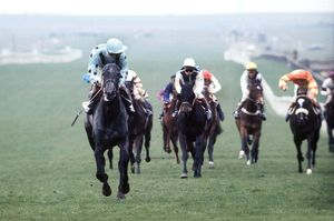 Lester Piggott on the way to winning the 1970 1000 Guineas Stakes