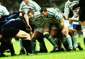Liam Mooney and Jonathan Evans prepares to scrummage - 1995 Varsity Match