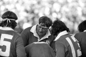 Lions captain Willie John McBride talks to his players during the final test against