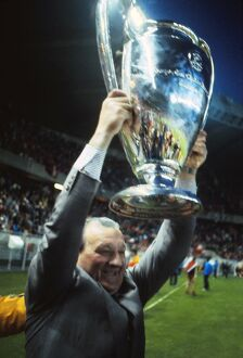 Liverpool manager Bob Paisley lifts the European Cup in 1981