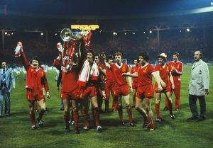 The Liverpool team celebrate winning the 1978 European Cup