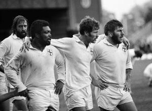 London Division front row prepares to scrum against the All Blacks in 1979