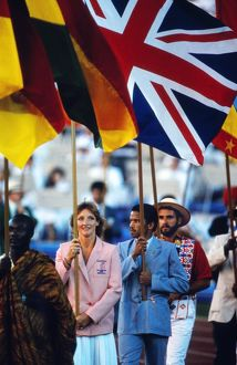 Lucinda Green carries the flag for Britain at the 1984 Los Angeles Olympics